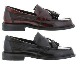 IKON SELECTA Mens Polished Leather Tassel Loafers in Oxblood or Black