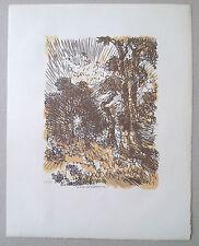 jacques BELTRAND Gravure sur bois paysage de foret arbre jardin