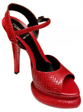 Authentic Fendi Womens Exquisite Red Snake Skin Platform High Heel Shoes Size 36