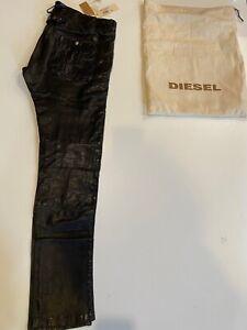 NWT $595 Diesel Peffy Leather Trousers inn black size W31 L34