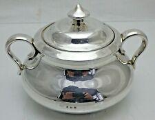 Vintage Plata Esterlina interesantes sobre cerámica Tazón de Azúcar con cubierta (porqué)