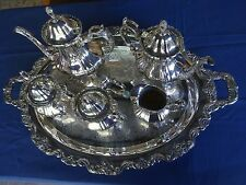 VINTAGE 6 PIECE SILVER TEA & COFFEE SET-LANCASTER ROSE BY POOLE-400-EPCA