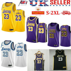 #23 Lebron James LA Lakers YELLOW BLACK PURPLE WHITE Vest Basketball Jersey UK