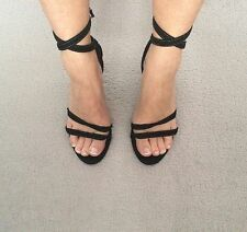 Armani jeans black denim scarpa strappy ankle tie shoes size 4/37