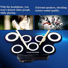 Drum Set Record Stick Pad Silicon Electric Portable Electronic Roll Up Protable
