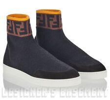 FENDI blck 10 LOGO ZUCCA Stretch KNIT Sock Suede High-top Sneakers NIB Auth $690