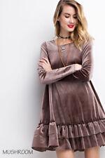 Soft PLUSH Velvet Shift Dress Long Sleeves Ruffled Hem Boho Swing Tunic Top