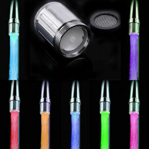 7 Multi Colour Changing LED Tap Faucet Light Kitchen Bathroom Sink Water Lamp