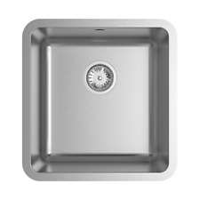 Abey LAGO STAINLESS STEEL SINGLE SQUARE SINK 430x450mm +Drain Tray *Aust Brand