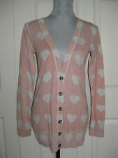 NEW Mossimo Blush Pink Gray Heart V Neck Cardigan Sweater Long Sleeve top 8 Sz M