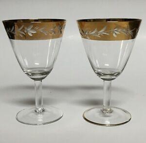 "2 Bohemia Crystal Gold Band Port Wine Glasses Leaf and Berry Cut #BOC12 4.75"""