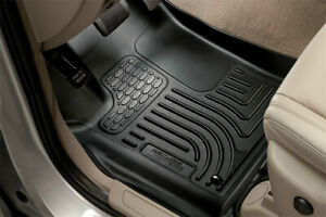 BLACK 2 Rows Husky Liners Weatherbeater Series 1st & 2nd Seat Floor Liners Mats