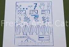 Ancien tampon scolaire métal mathématique calcul chiffre 7 compter 19*14cm AA073