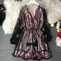 Lady Sequin Embroidery Jumpsuit Mesh Culotte Shorts Glitter Bodysuit Long Sleeve