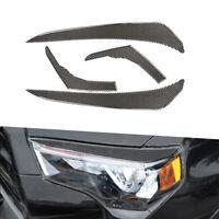 4Pcs For Toyota 4Runner 2010-19 Carbon Fiber Front+Rear Headlight Eyebrow Cover