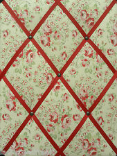 Cath Kidston Fabric NOTICE / MESSAGE BOARD Rose Paisley/Red Ribbon 30 X 40cm