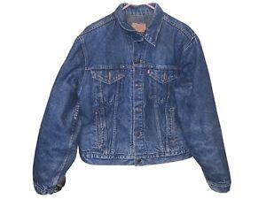 Vtg 80s Levis Blanket Lined Denim Jacket Mens Sz 46L Barn 71506-0316 Made In USA