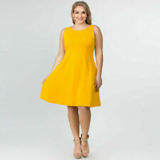 Yelete Yellow Sleeveless Fit Flare Stretch Dress With Pockets Size 3XL