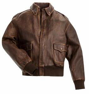 Mens A2 Aviator Pilot Flight Brown Leather Jacket -Bomber Leather Jacket for Men