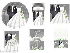 Silver Wedding Bride and Groom Party Tableware Decorations Plates Napkins Cups