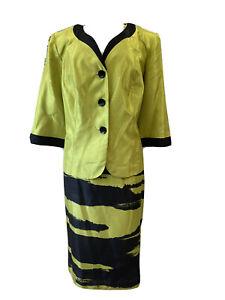 DANA KAY Women 2PC Stunning Green Black Skirt Suit Size 16W