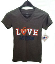 "Houston Astros MLB Shimmery ""I LOVE Astros"" Girls Shirt, Gray, Size L(10/12)"