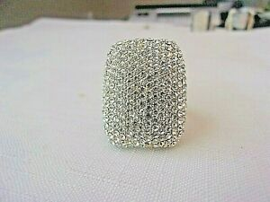AKKAD Large Gold Tone Clear Crystal Statement Ring Size 11