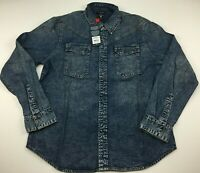 True Religion Men's Carter Western Button Up Denim Shirt/Top Size Large/ XL $199