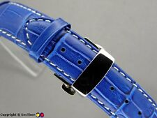 Watch strap Croco Butterfly Clasp Blue/White 18mm