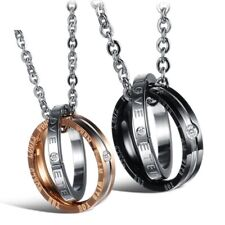 Stainless Steel Chain Ring Lover Couple Necklace Valentine Birthday Gift Present