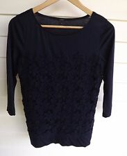J Crew Women's Blue Top with Floral Embroidery - Size XS