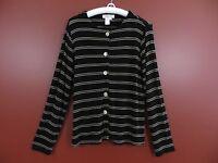 STK0556- COLDWATER CREEK Women Slinky Knit Button Front Jacket Black Tan Sz M