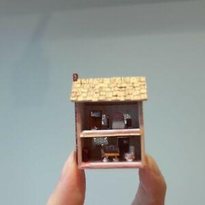 "458 Dollhouse miniature artisan Pink wooden house w micro furniture, 1 5/8"" tall"