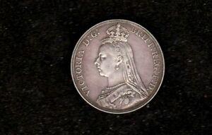 1890 BRITISH QUEEN VICTORIA SILVER CROWN COIN HIGH GRADE