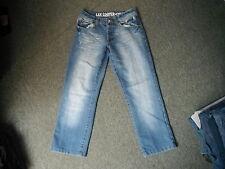 "Lee Cooper 3/4 Pantaloncini Jeans Girovita 30 ""Gamba 25"" Faded MEDIUM BLUE JEANS DA UOMO"