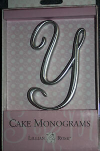 Letter Y Silver Monogram 25th Anniversary Wedding Cake Topper Pick