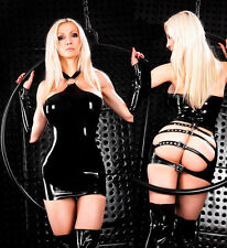 Super sexy latex leather look open bum minidress (7119)