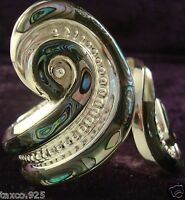 TAXCO MEXICAN 925 STERLING SILVER ABALONE BEADED BEAD CLAMPER BRACELET  MEXICO