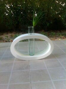 """Handmade Mango Wood Vase Oval Shape Modern Style 8.5"""" Length + Tracking Number"""