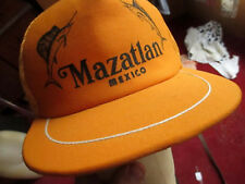 True Vtg 80s Mazatlan Swordfish Mexico Graphic Gold M 00004000 esh trucker Skater Cap