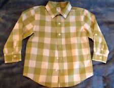 Gymboree Boys Checkered Green & White Button Down Shirt Size XS (3-4)