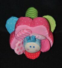 Peluche doudou papillon fleur HABA rose vert bleu grelot 12 & 16 cm TTBE