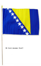 "12x18 Wholesale Lot 3 Bosnia Herzegovina Country Stick Flag 30"" wood staff"