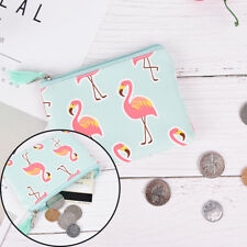 1Diary Flamingos PU Monederos Monederos con cremallera Zero Wallet Card Key BagV