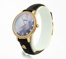 Women's Fossil Jacqueline Black Leather Watch ES4533, New