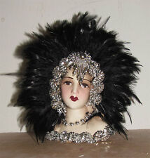 "Brand New - Unique Creations Small 9"" Art Deco Lady Doll Bust Head Vase"