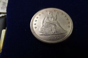 1877 Seated Liberty Silver Quarter AU/BU Exceptional Strike & PQ