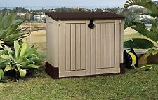 Outdoor Garden Storage Shed Plastic Steel Horizontal Backyard Deck Patio