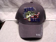 KISS MY BASS FISHING UNITED STATES BASEBALL CAP HAT ( GREY )