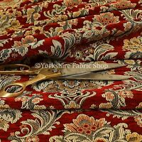 Rich Detail Damask Exotic Red Floral Pattern Upholstery Furnishing Fabric